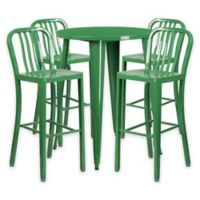 Flash Furniture 5-Piece 30-Inch Round Metal Bar Table and Industrial Stools Set in Green