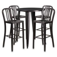 Flash Furniture 5-Piece 30-Inch Round Metal Bar Table and Industrial Stools Set in Black/Gold