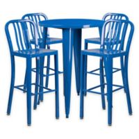Flash Furniture 5-Piece 30-Inch Round Metal Bar Table and Industrial Stools Set in Blue