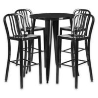 Flash Furniture 5-Piece 30-Inch Round Metal Bar Table and Industrial Stools Set in Black