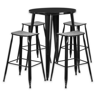 Flash Furniture 5 Piece 30 Inch Round Metal Bar Table And Backless Stools  Set