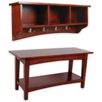 Alaterre Shaker Cottage Bench and Storage Coat Hook Set in Cherry