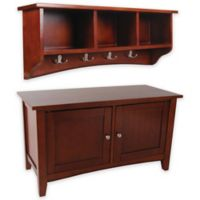 Shaker Cottage Storage Bench and Coat Hook with Cubbies Set in Cherry