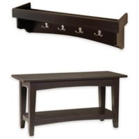 Alaterre Shaker Cottage Bench and Coat Hook Tray in Chocolate