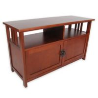 Mission Style TV Stand with Cabinet Doors in Cherry