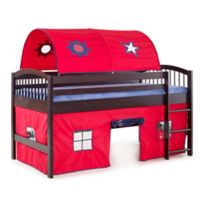 Addison Cinnamon Junior Loft Bed with Tent and Playhouse in Red/Blue