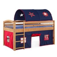 Addison Cinnamon Junior Loft Bed with Tent and Playhouse in Blue/Red