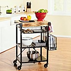 Artesa Folding Kitchen Cart with Baskets in Black