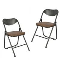 Decor Therapy Folding Chair with Vintage Wood Seat (Set of 2)