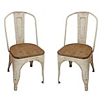Décor Therapy Metal Chair with Vintage Wood Seat in White (Set of 2)