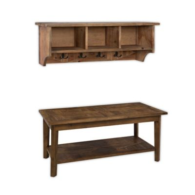 Alaterre Revive Storage Coat Hook With Bench Set In Brown/Wood