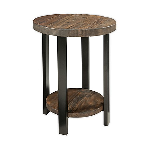 Pomona Metal And Reclaimed Wood 20 Inch Round End Table