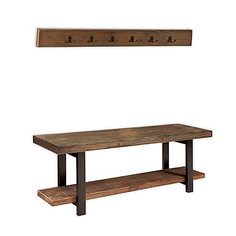 Pomona Metal And Reclaimed Wood Coat Hook And Bench Set
