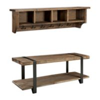 Modesto Metal and Reclaimed Wood Wall Storage Hook and Bench Set