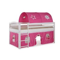 Addison Junior Loft Bed with Tent and Playhouse in White/Pink