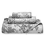Loft by Loftex Floral Block Bath Towel in Silver/White