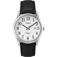 Timex® Easy Reader® Men's 38mm Watch in Silvertone Brass with Black Leather Strap