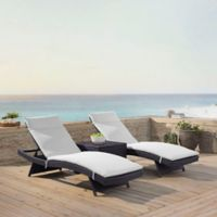 Crosley Biscayne All-Weather Wicker Chaise Lounge with White Cushions