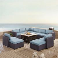 Crosley Biscayne 8-Piece Resin Wicker Outdoor Sectional Set with Cushions in Mist