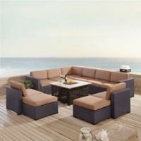 Crosley Biscayne 8-Piece Resin Wicker Outdoor Sectional Set with Cushions in Mocha