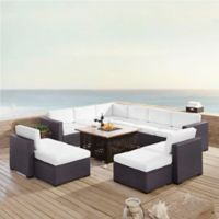 Crosley Biscayne 8-Piece Resin Wicker Outdoor Sectional Set with Cushions in White