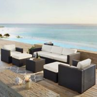 Crosley Biscayne 7-Piece Resin Wicker Outdoor Furniture Set with Cushions in White