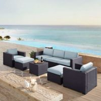 Crosley Biscayne 7-Piece Resin Wicker Outdoor Furniture Set with Cushions in Mist