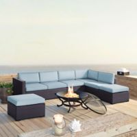 Crosley Biscayne 6-Piece Resin Wicker Fire Pit Conversation Set with Cushions in Mist