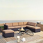 Crosley Biscayne 6-Piece Resin Wicker Fire Pit Conversation Set with Cushions in Mocha
