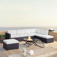 Crosley Biscayne 6-Piece Resin Wicker Fire Pit Conversation Set with Cushions in White