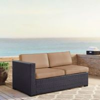 Crosley Biscayne All-Weather Resin Wicker Loveseat with Mocha Cushions
