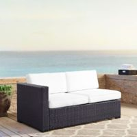 Crosley Biscayne All-Weather Resin Wicker Loveseat with White Cushions