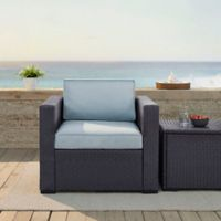 Crosley Biscayne Resin Wicker Outdoor Armchair with Cushions in Mist