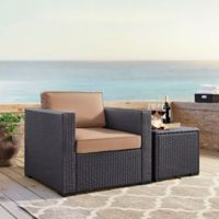 Crosley Biscayne Resin Wicker Outdoor Armchair with Cushions in Mocha