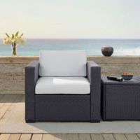 Crosley Biscayne Resin Wicker Outdoor Armchair with Cushions in White