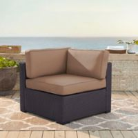 Crosley Biscayne All-Weather Resin Wicker Corner Chair with Mocha Cushions