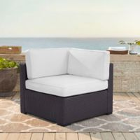 Crosley Biscayne All-Weather Resin Wicker Corner Chair with White Cushions