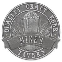 Whitehall Products Craft Beer Tavern Round Plaque in Silver/Pewter