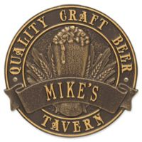 Whitehall Products Craft Beer Tavern Round Plaque in Bronze/Gold