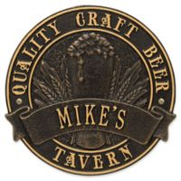 Whitehall Products Craft Beer Tavern Round Plaque in Black/Gold
