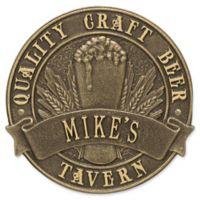 Whitehall Products Craft Beer Tavern Round Plaque in Antique Bronze
