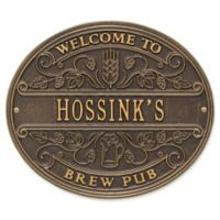 Whitehall Products Brew Pub Welcome Plaque in Dark Brown/Gold