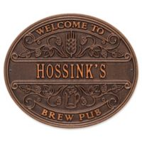 Whitehall Products Brew Pub Welcome Plaque in Antique Copper