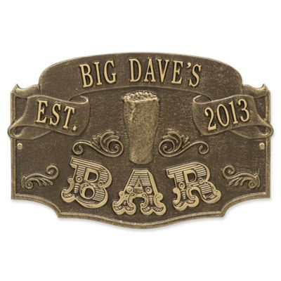 Whitehall Product Established Bar Plaque In Antique Brass