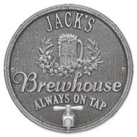 Whitehall Products Oak Barrel Beer Pub Plaque in Pewter/Silver