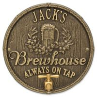 Whitehall Products Oak Barrel Beer Pub Plaque in Antique Brass
