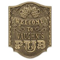 Whitehall Products Brew Pub Welcome Plaque in Antique Brass