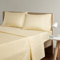 Intelligent Design Triangle Printed King Sheet Set in Yellow