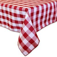 Gingham Poly Check 84-Inch Square Indoor/Outdoor Tablecloth in Red/White