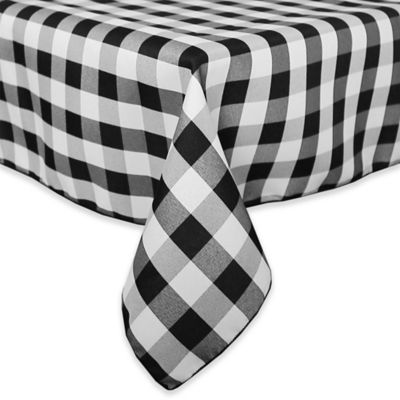 Gingham Poly Check 54 Inch Square Indoor/Outdoor Tablecloth In Black /White